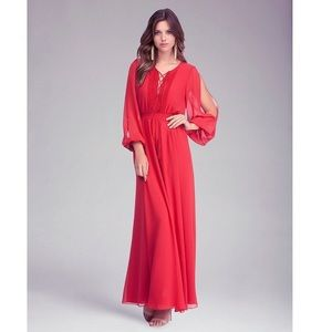 Women's Red Open Shoulder Maxi Dress